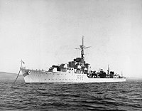 HMS Cockade (R34) secured to a buoy in the Clyde, 28 September 1945 (FL 3818).jpg