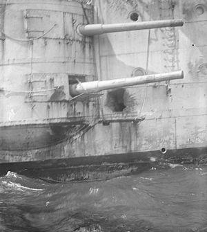 BL 6-inch Mk VII naval gun - Image: HMS Kent Falklands damage IWM Q 045916