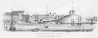 History of Bermuda - An engraving of the HM Dockyard on Ireland Island, Bermuda, circa 1860, by Thomas Chisholm Jack