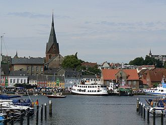 "Flensburg - Harbour of Flensburg, western shore, with the church ""Sankt Marien"" (Saint Mary)"