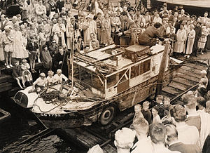 Ben Carlin - The Carlins and Half-Safe were greeted by a large crowd upon landing in Copenhagen, Denmark, in 1951.