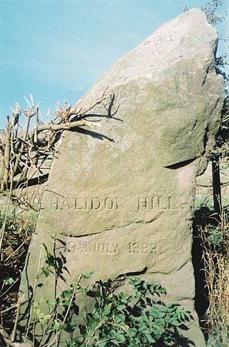 Battle of Halidon Hill - Monument marking the site of the Battle of Halidon Hill, alongside the A6105 Berwick-Foulden, Berwickshire road. With the date of battle.