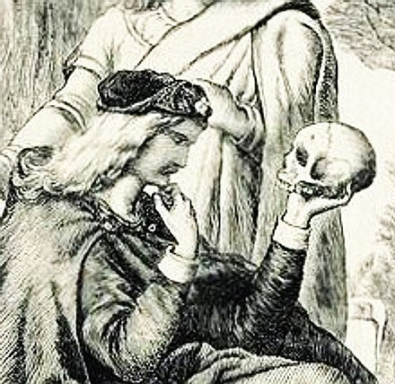 Hamlet meditating upon Yorick's skull has become the most lasting embodiment of the imagery of vanitas, conveying the theme memento mori ('Remember you shall die'). Whatever the meaning of life, it (life) is fleeting. HamletSkullHCSealous.jpg