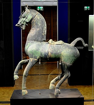 End of the Han dynasty - An Eastern Han prancing horse, bronze sculpture, 2nd century