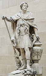 An�bal Barca seg�n representaci�n de Fran�ois Girardon en 1704, situado en el Patio Puget del Louvre. An�bal se representa contando los anillos romanos tomados en la batalla de Cannas, el 216 adC