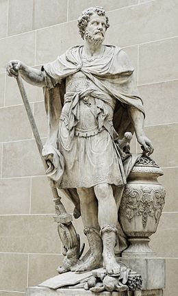 Hannibal counting the signet rings of Roman nobles killed during the battle, statue by Sébastien Slodtz, 1704, Louvre.