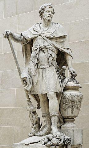 Ганнибал считает кольца убитых в битве римских всадников, статуя Себастьена Шлодтца, 1704, Лувр