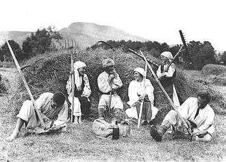 Peasants' Party (Romania) - Harvest time in Romania (1920 photograph)