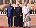 Hassan Rouhani being received by the President, Shri Ram Nath Kovind and the Prime Minister, Shri Narendra Modi, at the Ceremonial Reception, at Rashtrapati Bhavan, in New Delhi (2).jpg