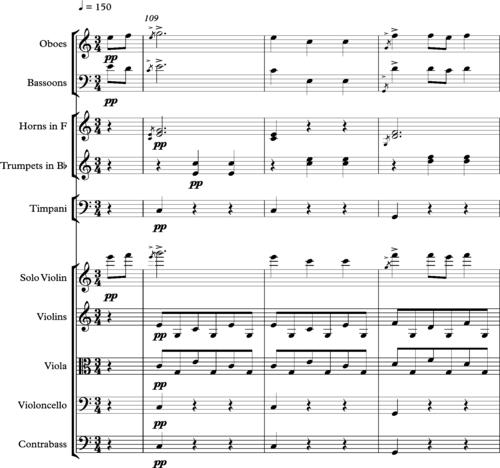 Haydn, Symphonie 97, troisième mouvement, mesures 109-117.png
