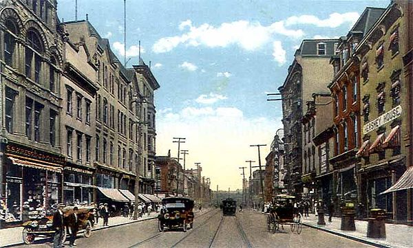Postcard depicting Market Street in Downtown Harrisburg as it appeared in 1910. Trolley tracks are noticeable along the street. Hb market street.jpg