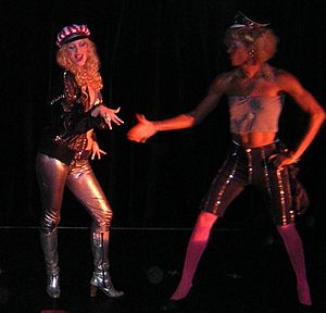 "Helena Mattsson - Mattsson (left) as ""Betty-Sue"" in Wild Side Story in Stockholm in 2002"