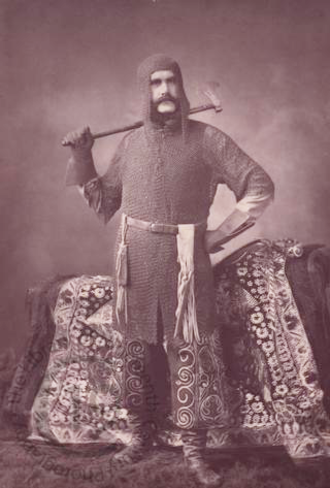 Henry Lansdell - Lansdell in Kokand armour with saddle cloth presented by the Emir of Bukhara