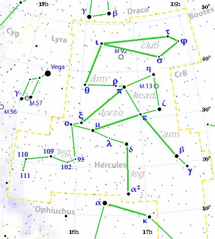 Hercules constellation map visualization