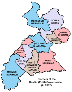 Districts of the Erbil Governorate (in 2012)