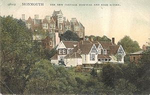 Former Cottage Hospital, Monmouth - Image: High School and Old Hospital Monmouth 1909