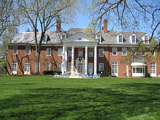 Hillwood Estate, Museum & Gardens - A view of the Lunar Lawn and Mansion