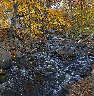 Ho-Ho-Kus, New Jersey - The Ho-Ho-Kus Brook flowing through downtown Ho-Ho-Kus