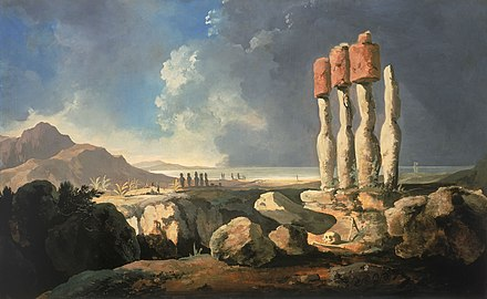 A View of the Monuments of Easter Island, Rapanui, c. 1775-1776 by William Hodges. Hodges easter-island.jpg