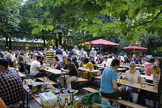 Beer garden Outdoor area in which beer, other drinks, and local food are served