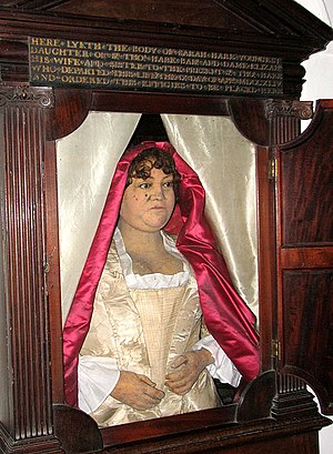 Stow Bardolph - The wax effigy of Sarah Hare who died in 1744