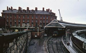 Holyhead railway station - Holyhead station in September 1967 under British Rail.