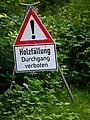 Holzfällung Durchgang verboten Hessen Juni 2012.JPG