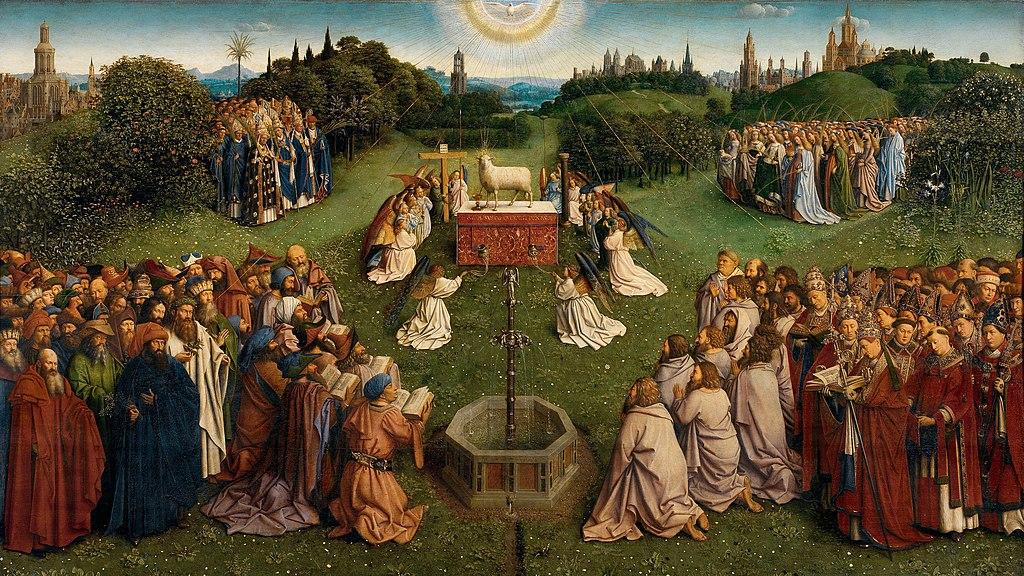 """A kép centrumában Isten báránya, a keresztény jelképrendszer fő szimbóluma, az egész emberiségért meghozott krisztusi áldozat megtestesítője van megfestve. Előtte az élet vizének forrása, a megváltás és a minden embernek megigért kegyelmi ajándék, az örök élet kegyelmének jelképe. Az oltárasztal brokátterítőjén latin nyelvű felirat olvasható: """"Íme, Isten báránya, aki elveszi a világ bűneit."""""""
