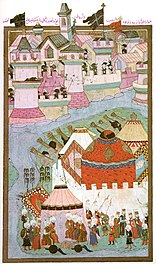 The Ottoman divan meets: the withdrawal has already been decided, the cannons are silent, the sultan has departed.  (Ottoman miniature from the 16th century)