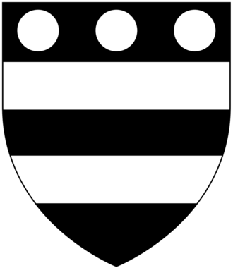 Baron Hungerford - Arms of Hungerford: Sable, two bars argent in chief three plates