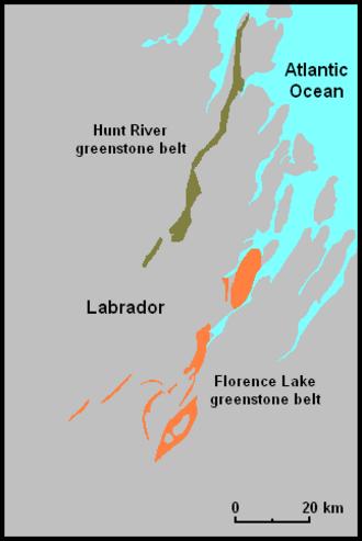 Nain Province - Hunt River and Florence Lake greenstone belts
