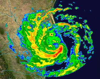 Tropical cyclone observation - Radar image of Hurricane Erika making landfall over Northeastern Mexico