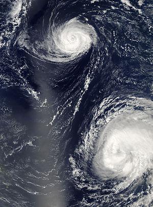 2006 Atlantic hurricane season - Hurricane Gordon on the top, with Hurricane Helene to the bottom-right