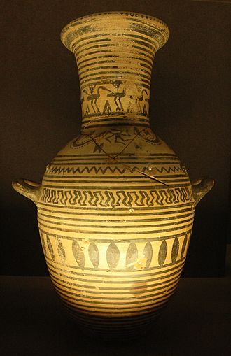 Pottery of ancient Greece - Boeotian Geometric Hydria lamp, Louvre