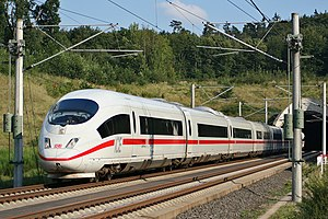 An ICE 3 high speed train on the Frankfurt-Col...