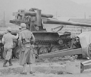 Type 97 ShinHoTo Chi-Ha - IJN Long Barrel 120 mm SPG being demonstrated to US Army personnel, post-surrender