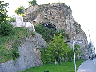 Gellért Hill Cave - The main entrance to the cave, as viewed from the Danube waterfront