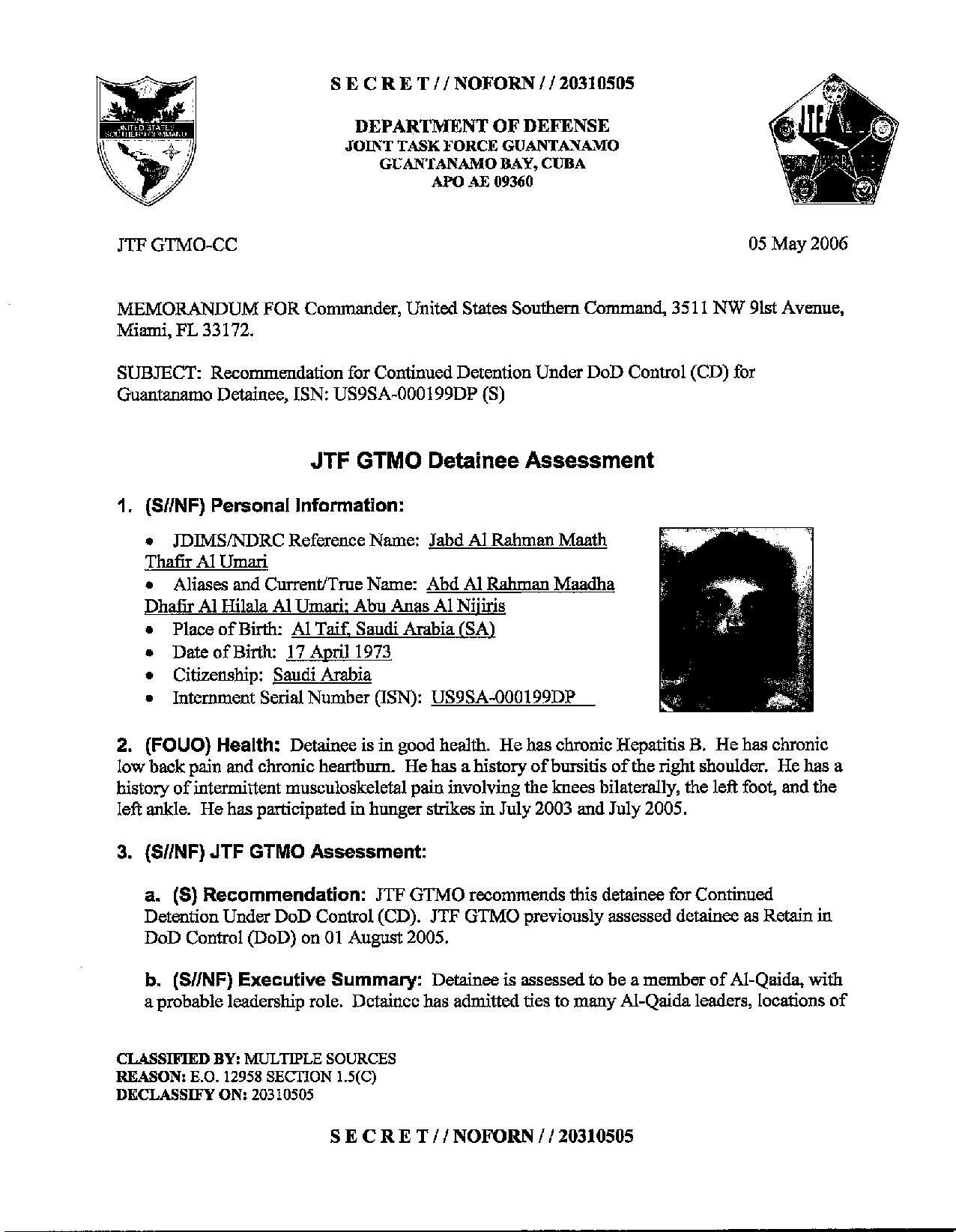 ISN 00199, Jabd Al Rahman Maath Thafir Al Umad's Guantanamo detainee assessment.pdf