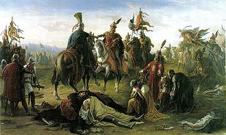 Battle on the Marchfeld - Kings Ladislaus and Rudolph of Habsburg meet over the dead body of King Ottokar. A romantic painting by Mór Than, 1872. Such patriotic-tinged works were common in the Czech, German or Hungarian settings during the 19th century