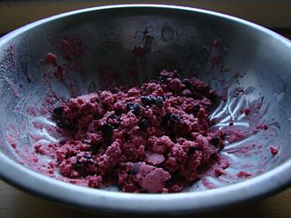 dish of whipped fat mixed with berries like cranberries, salmonberries, crowberries, cloudberries, and blueberries; a traditional dish of peoples of western Alaska and northern Canada