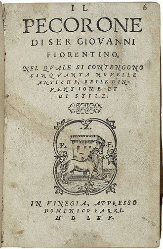 The Merchant of Venice - The title page from a 1565 printing of Giovanni Fiorentino's 14th-century tale Il Pecorone