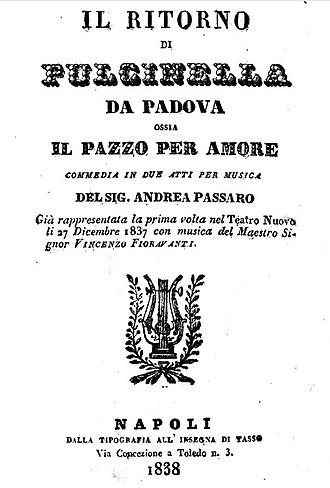 Vincenzo Fioravanti - Image: Il ritorno di Pulcinella da Padova, libretto, 1838