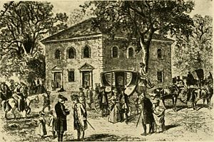 Pohick Church - This image, published in 1915, depicts Pohick Church and its congregation as it would have been seen in the late eighteenth century.
