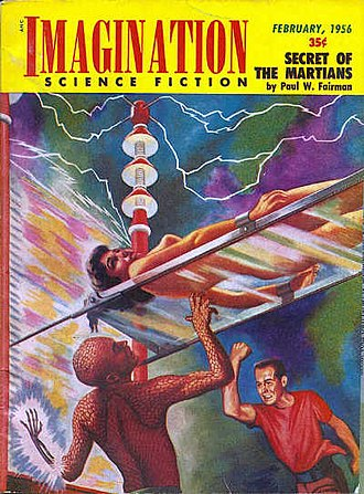 Science fiction magazine - A front cover of Imagination, a science fiction magazine in 1956.