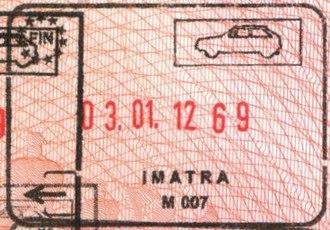Imatra - Image: Imatra passport exit stamp