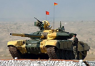 Kontakt-5 - The advanced Kontakt-5 explosive reactive armour on this Indian Army T-90S is arranged in pairs of plates with a triangular profile