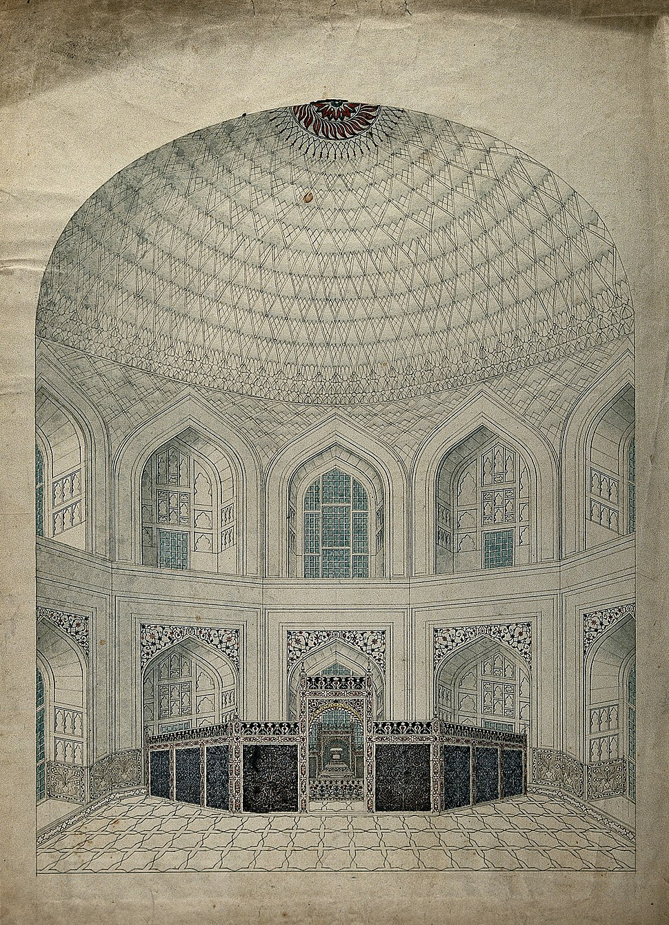 Interior view of the vaulted dome over the tombs of Shah Jahan and Mumtaz.