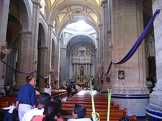 Chalco de Díaz Covarrubias - View from inside of the main church in Chalco.