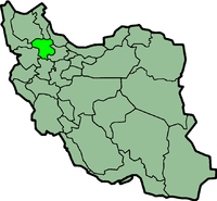 Map of Iran with ज़ंजन highlighted.
