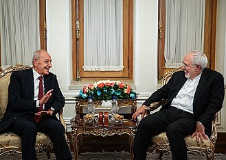 Nabih Berri - Iranian foreign minister, Mohammad Javad Zarif (right) meeting with Berri in his office in Tehran